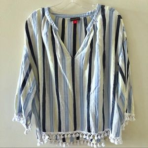 Vince Camuto Striped Tassel Blouse XL